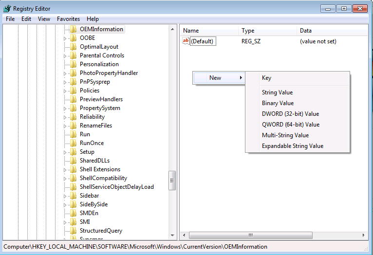 example registry key create en